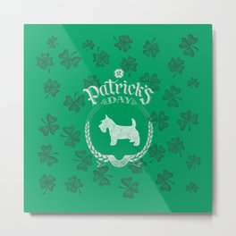 St. Patrick's Day Scottish Terrier Funny Gifts for Dog Lovers Metal Print