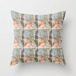 South Korean street cafe  shops illustration with girl in hanbok Throw Pillow