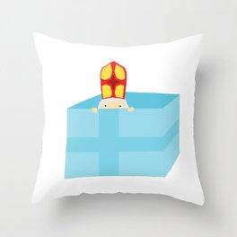 Funny Cute Kids Art St. Nicholas Sinterklaas Throw Pillow