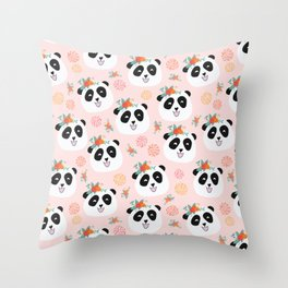 Panda bear with flowers seamless pattern Throw Pillow