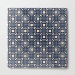 Natural Blue Geometric Pattern 4 Metal Print