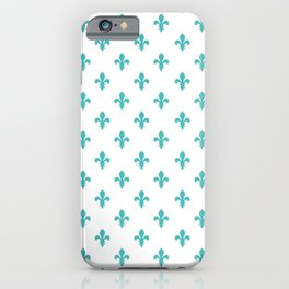 Fleur-de-Lis (Teal & White Pattern) iPhone Case