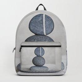 Zen cairn pebble stone balance grey Backpack