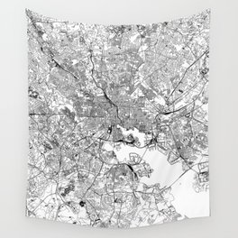 Baltimore White Map Wall Tapestry
