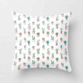 Cactus Succulent Garden Throw Pillow