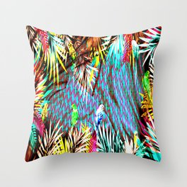 Exotic Parrots Throw Pillow