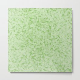 Pretty beautiful distressed abstract delicate little leaves elegant stylisht pattern. Gift ideas for nature lovers. Feminine floral botanical pastel light green artistic design. Metal Print