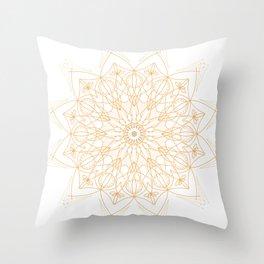 Evil Eye Tangerine Mandala Throw Pillow