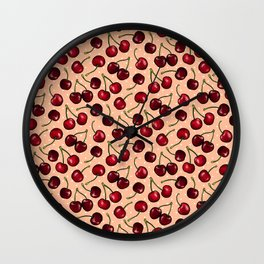 Cherry Cherries with Polka Dots, Apricot Wall Clock