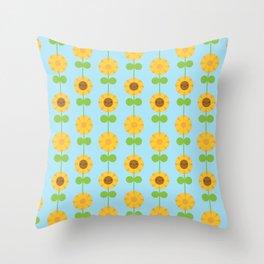 Kawaii Sunflowers Throw Pillow
