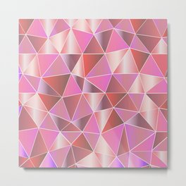 Abstract pink lilac white geometric triangles Metal Print
