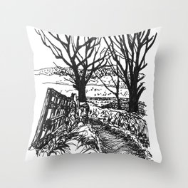the road down from fairy hill Throw Pillow