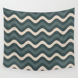 Juniper Berry Green & Alpaca Wool Cream Wavy Horizontal Stripes on Night Watch Green Wall Tapestry
