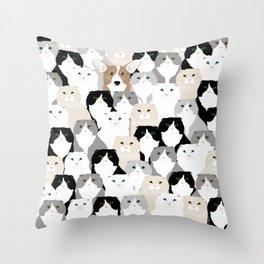 Cats and Dog Throw Pillow