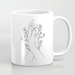Hands Holding Flower Minimal Line Art Coffee Mug