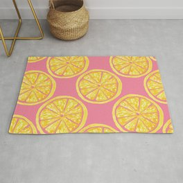Lemon Slices |Yellow Watercolor Citrus Fruit on Pink | Renee Davis Rug