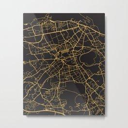 EDINBURGH SCOTLAND GOLD ON BLACK CITY MAP Metal Print