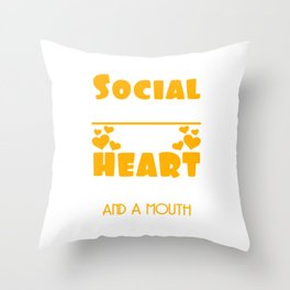 I'm A Social Worker I Was Born With My Heart On My Sleeve T-shirt Design Family Assistance Problems Throw Pillow