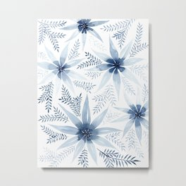 Winter Blue Flowers Metal Print
