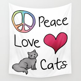 Peace Love Cats Wall Tapestry