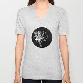 Vintage Octopus Black Unisex V-Neck
