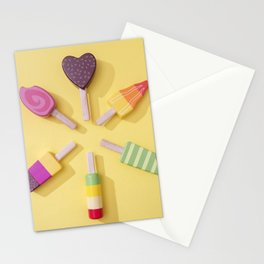 Ice Cream Lollipops on a Bright Yellow Background Stationery Cards