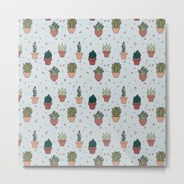 Succulent Plants Plant Lady Pattern Design  Metal Print