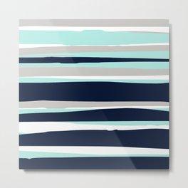 Ocean, Stripe Abstract Pattern, Navy, Aqua, Gray Metal Print