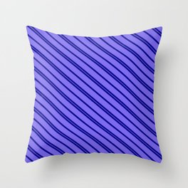 Dark Blue & Medium Slate Blue Colored Lines/Stripes Pattern Throw Pillow