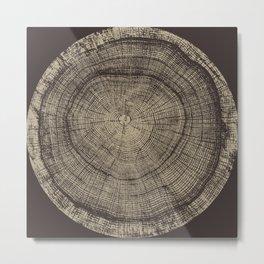 Detailed dark brown sepia wood tree with circle growth rings pattern Metal Print