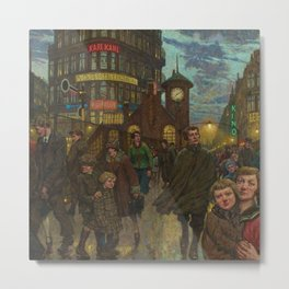 Bustling Berlin Street, Twilight, 1920's by Hans Baluschek Metal Print