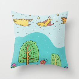When Cats Fly Throw Pillow