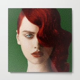Bet Everything on Red - Female Portrait by Jeanpaul Ferro Metal Print