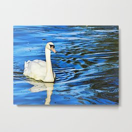 White Swan in Deep Blue Metal Print