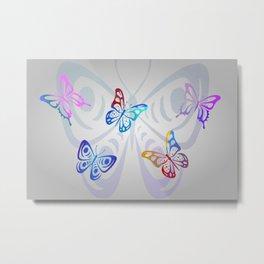 Big Butterflies with grey background Metal Print