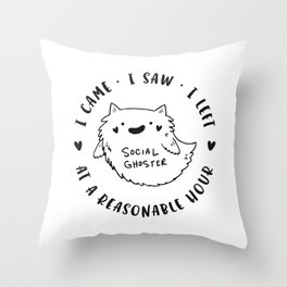 Social Ghoster Throw Pillow