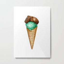 Mint Chocolate Ice Cream in Watercolor Metal Print