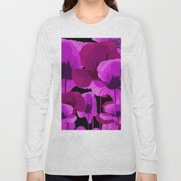 Bright Pink and Red Poppies On A Black Background Autumn Mood Long Sleeve T-shirt