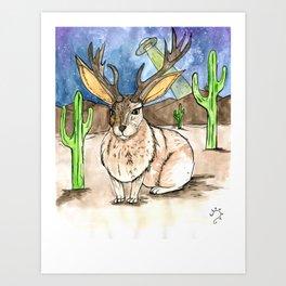 Jackalope in the desert Art Print