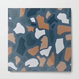 Abstract Terrazzo - Dark Blue Metal Print