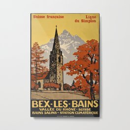 Bex Les Bains Vintage Travel Poster Metal Print