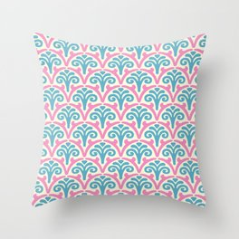 Floral Scallop Pattern Pink and Turquoise Throw Pillow