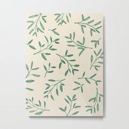 Leaf Pattern Watercolor - Green Metal Print