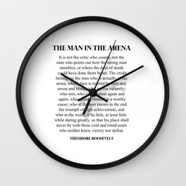 The Man In The Arena, Theodore Roosevelt, Daring Greatly Wall Clock
