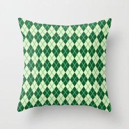 Green Argyle Pattern Throw Pillow