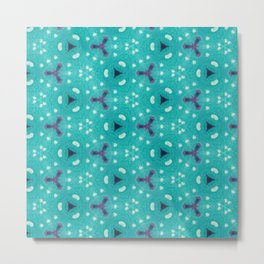 Aqua Purple and White Textured Bubble Abstract Design Metal Print