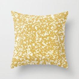 Spicy Mustard Pixels Throw Pillow