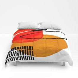 Mid Century Modern Abstract Vintage Pop Art Space Age Pattern Orange Yellow Black Orbit Accent Comforters