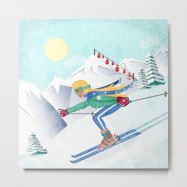 Skiing Girl Metal Print