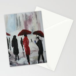 The Girl With The Red Umbrella Impressionist Fine Art Stationery Cards